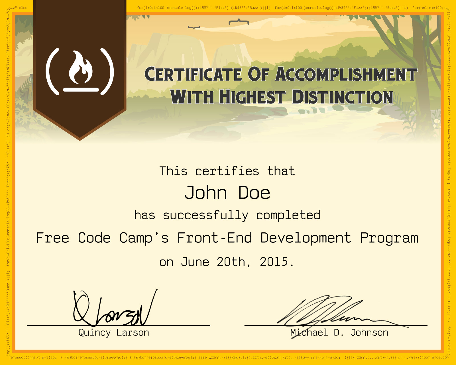 An image of a sample Front End Development Certificate